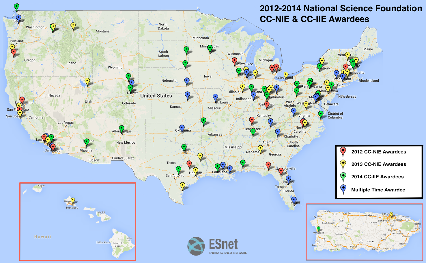 ESnets Science DMZ Breaks Down Barriers Speeds Up Science - Map of us universities